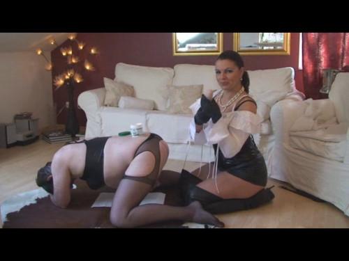 Femdom and Strapon Lady Asmondena The Kitchen Slave