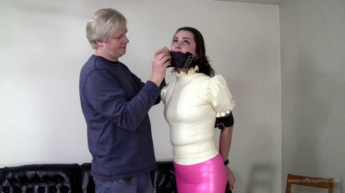 BDSM Belle Davis Leather Bondage in Pink and White Latex