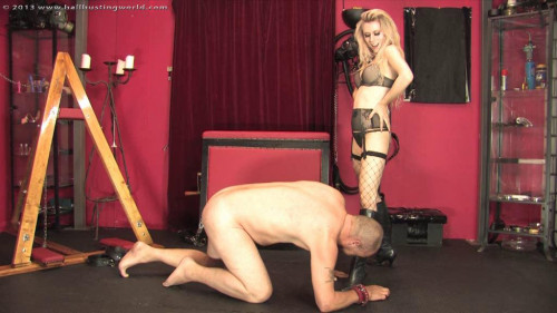 Femdom and Strapon Ballbusting Punishmentt