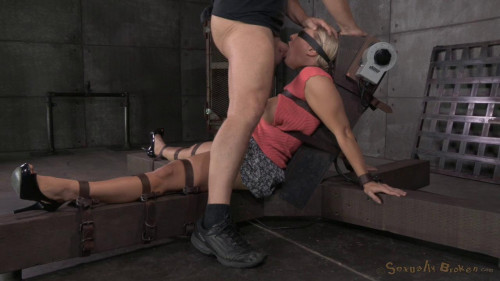 bdsm Lush Angel Allwood bound down to a fucking machine