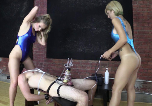 Femdom and Strapon Tens Limit Tested While Facesat And Milked