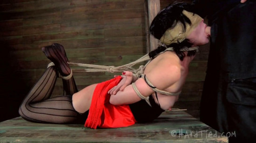 BDSM Tight bondage, hogtie, spanking and torture for sexy slut