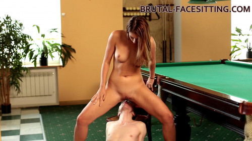 Femdom and Strapon Ani Blackfox is playing with her slave
