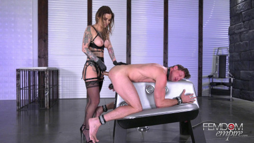 Femdom and Strapon Stretched for Mistress