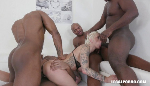 Sexy Blond Mila Milan Gangbanged By 4 Black Dicks