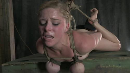 BDSM Girl next door in a Cat 5 Hogtied breast suspension-rough bdsm porn