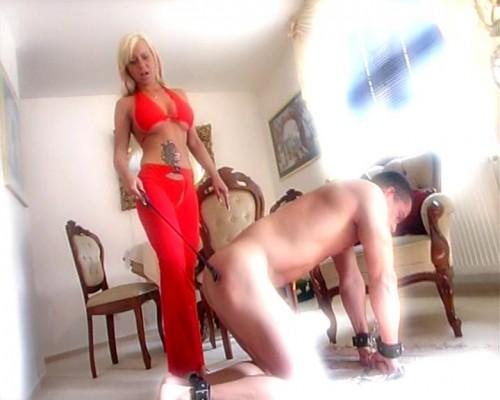 Femdom and Strapon Hard femdom whipping