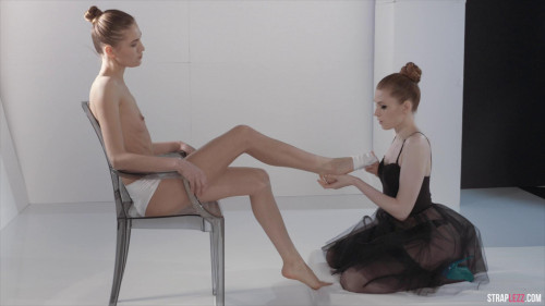 Femdom and Strapon Ballerinas Mia Reese and Rossy Bush Have Strapless Dildo Fun