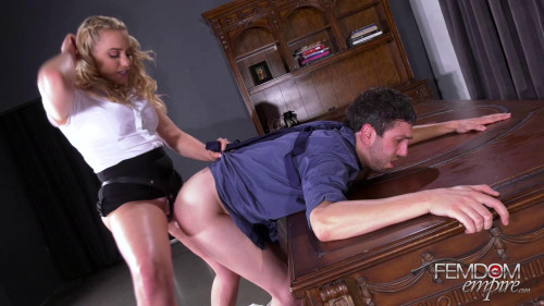 Femdom and Strapon Office Blackmail Fuck