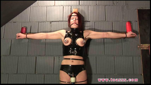 BDSM Melanie in the Dungeon - Ziptied on the Cross