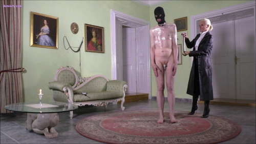 Femdom and Strapon Wrapped and Abused