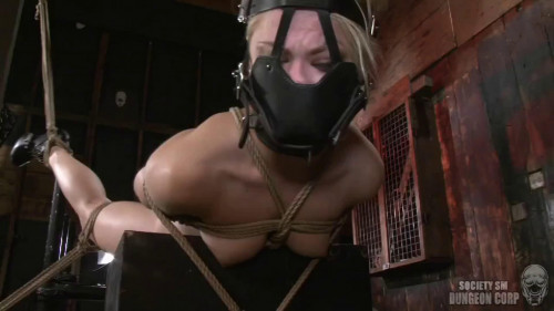 BDSM Super bondage, spanking and hogtie do sexy naked blonde
