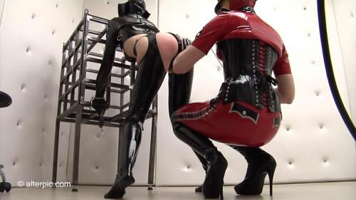 BDSM Latex Caged - 1 of 2 - Anna Rose and Amarantha
