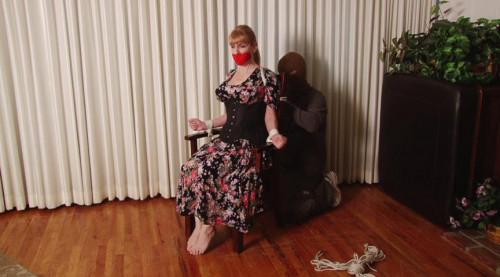 BDSM HD Bdsm Sex Videos Dress Cut Open then Stuffed WrapGag for Damsel Lorelei