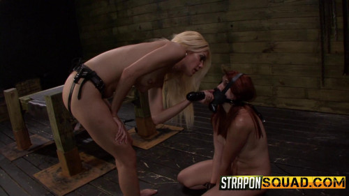 bdsm Strapon Dildo Deepthroat BJ and Rough Sex in Bondage with Mila Blaza and Rose Red Tyrell