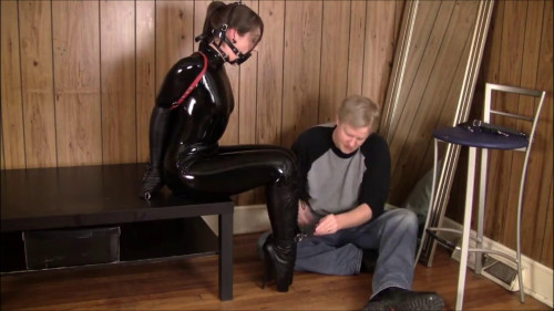 BDSM Latex Super bondage and hogtie for beautiful young model