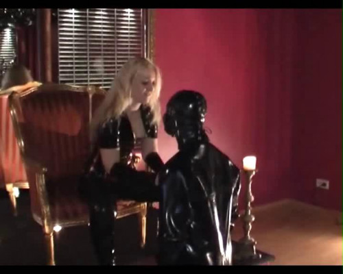Femdom and Strapon My Rubber Slave