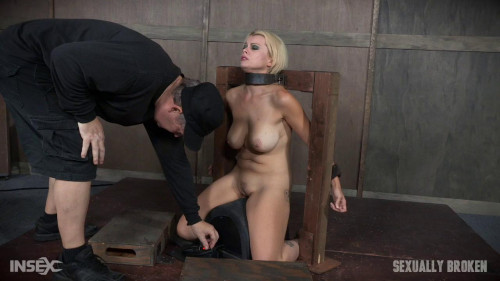 bdsm Nadia White is severely bound in metal, completely helpless on a sybian