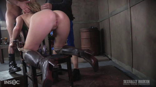 BDSM Chair bound and brutally double fucked, Squirting screaming deepthroat!
