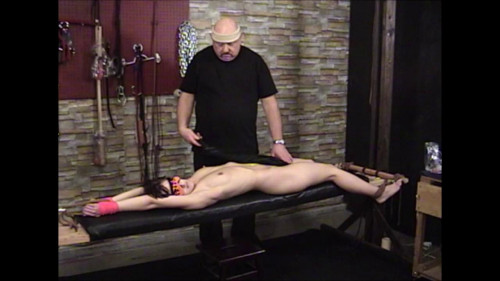 bdsm Elise Bench Tied and Flogged