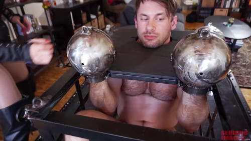 Femdom and Strapon Caged Titan