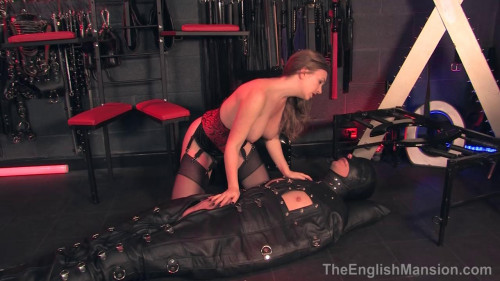 Femdom and Strapon Leather Sack Cum Toy