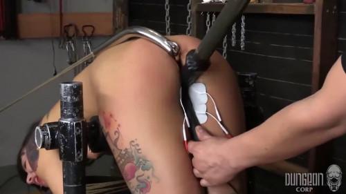 BDSM Hard bondage, spanking and torture for sexy naked brunette