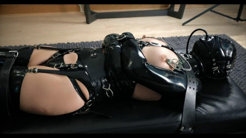 BDSM Latex Super bondage, domination and torture for hot model in latex