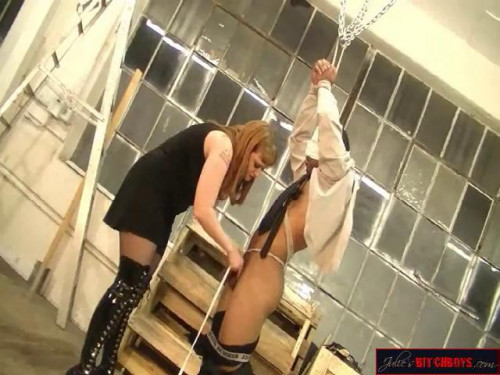 Femdom and Strapon Cock Torture W Caning