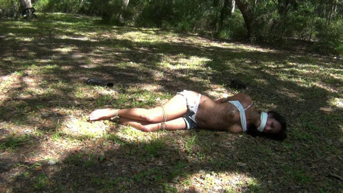 bdsm Hard bondage and hogtie for hot latina girl on the outdoor