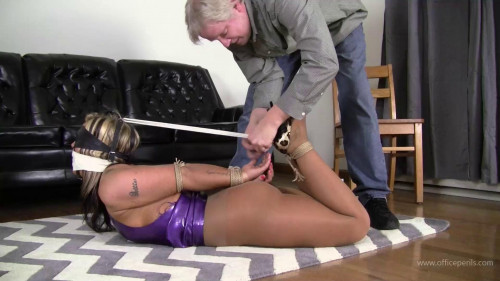 BDSM Adara Jordin : Hogtied in Latex and Leather