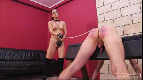 Femdom and Strapon Testing the new slave