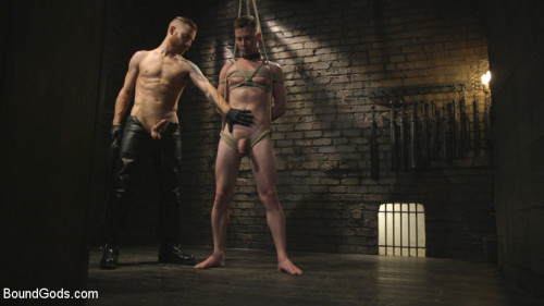 Gay BDSM Slave boy with a giant cock submits to the whims of Mr Keys