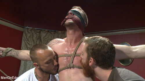 Gay BDSM Ripped stud has his cock relentlessly edged after losing strip poker