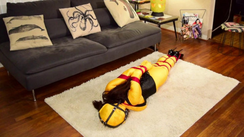 BDSM Living Doll Dressed in Yellow-rope bondage videos
