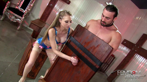 Femdom and Strapon Earning His Release