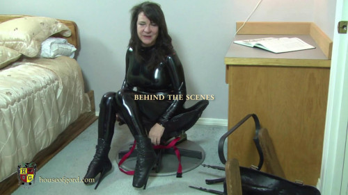 BDSM House of Gord - Femcar Bound in Gords Famous Office Chair