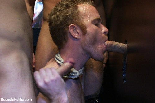 Gay BDSM Hot Gym Trainer Gets Tied up and Gang Fucked in a Porn Store