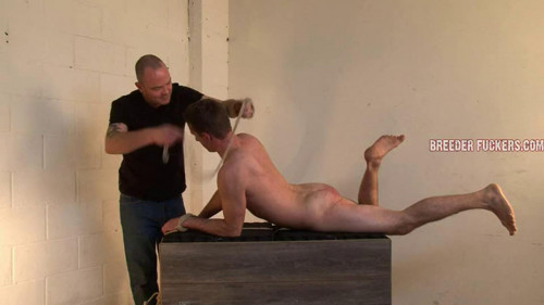 Gay BDSM Shamus - Tied arse up on a block of wood
