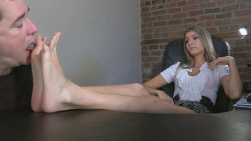 Femdom and Strapon Felicias Office Humiliation