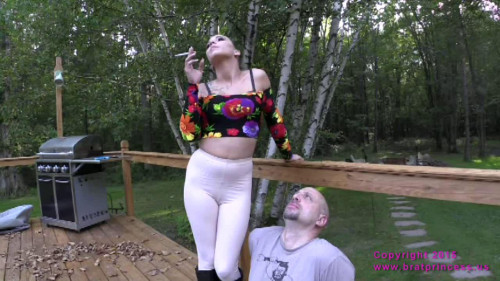 Femdom and Strapon Bitchy Rider Uses Her Human Ash Tray