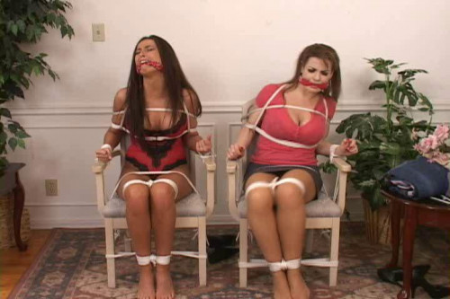 bdsm Bound and Gagged - Chair-Tied Buxom Babes - Hana Black and Alexis Taylor