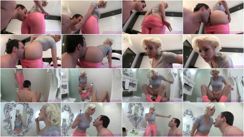 Femdom and Strapon Cuckold used as Toilet Paper Sink and Wastebasket