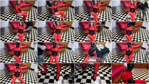 BDSM ShinyB - Simone.. Chairtied in Red Part 1