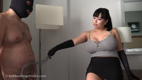 Femdom and Strapon Big tits and a pathetic loser