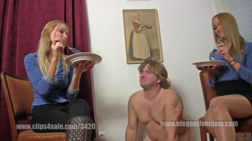 Femdom and Strapon Mistress Demona and Lady Becca slave feeding (2016)