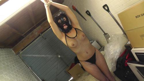 BDSM Latex Kelli tied in latex mask