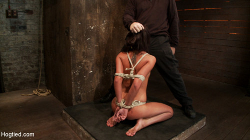 bdsm 19 yr old girl next door, is severely bound, brutally skull fucked Hogtied suspended made to cum