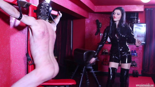 Femdom and Strapon Mistress Iside Whipped