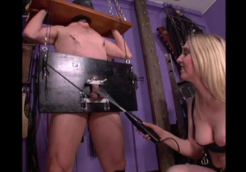 Femdom and Strapon Pilloried For Electrics